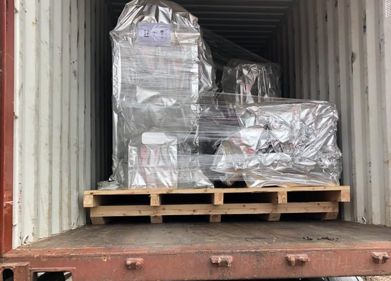 Factory equipment loaded onto pallets