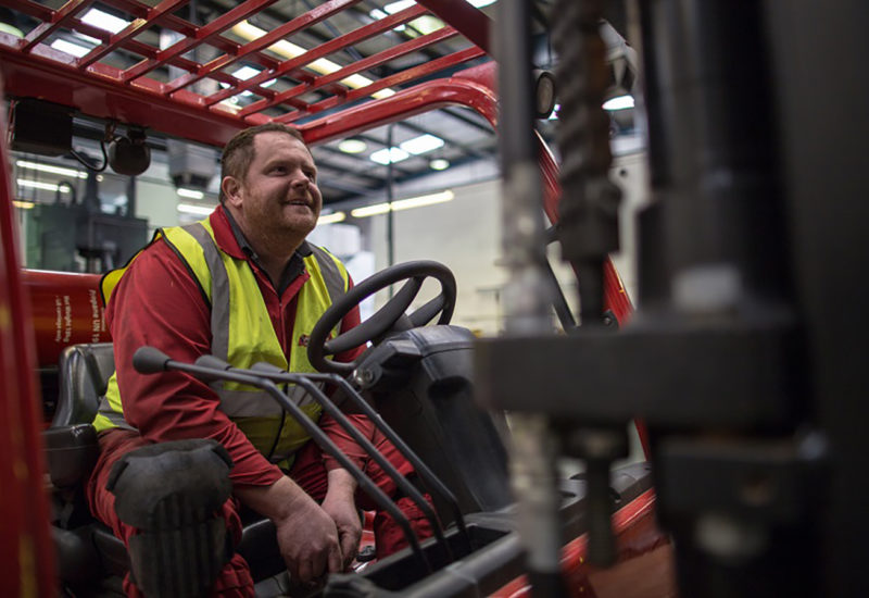 Adam Ambrose on Forklift