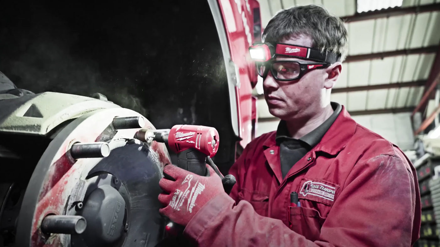 Engineer using Milwaukee tools
