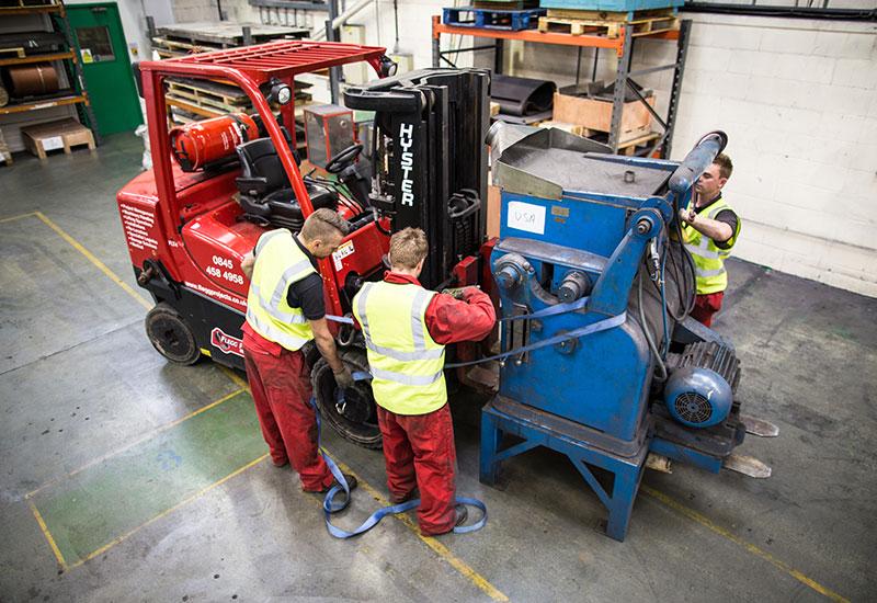 loading machine on forklift